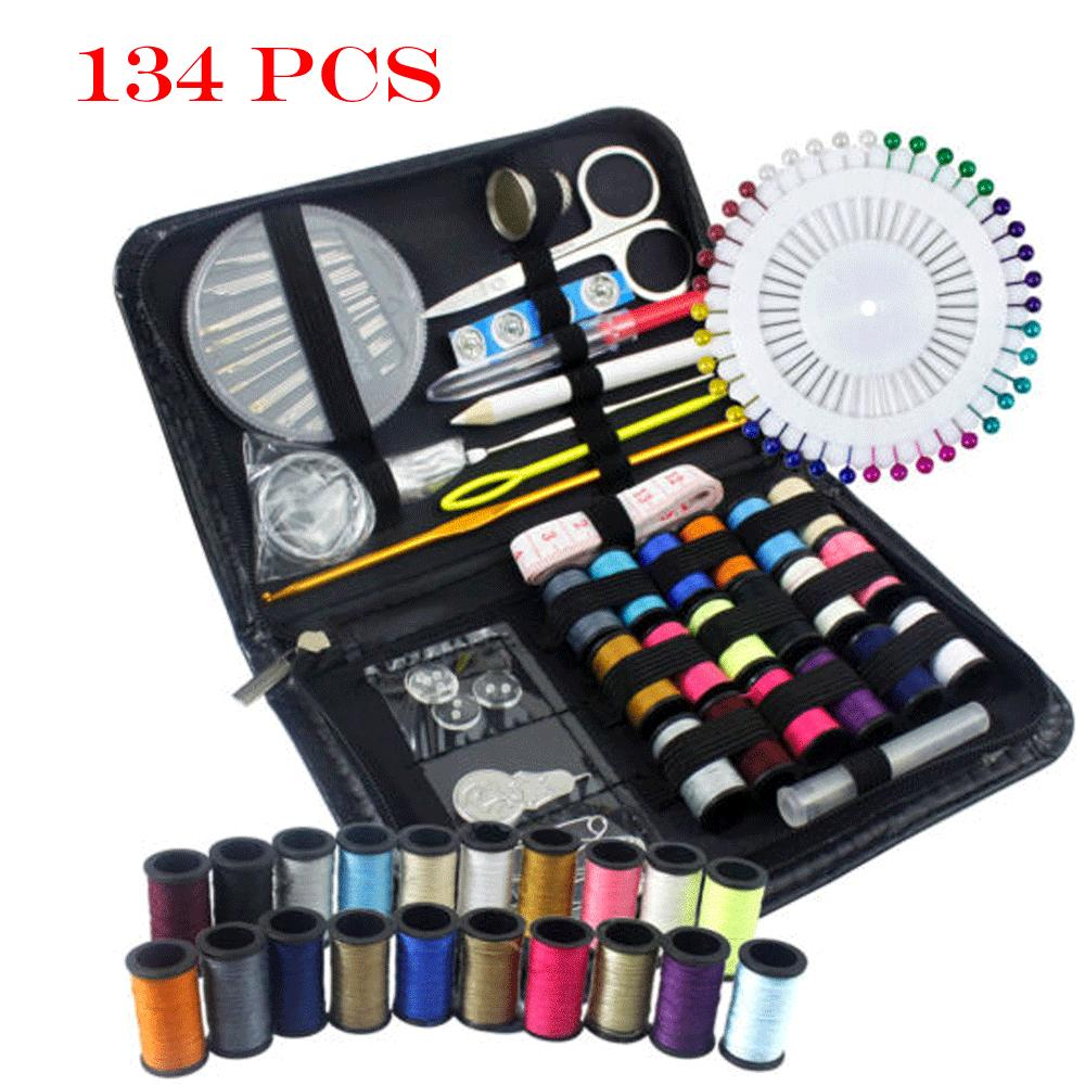 134 Pcs Portable Home Sewing Kit Case Needle Thread Tape Scissor Button Hand UK