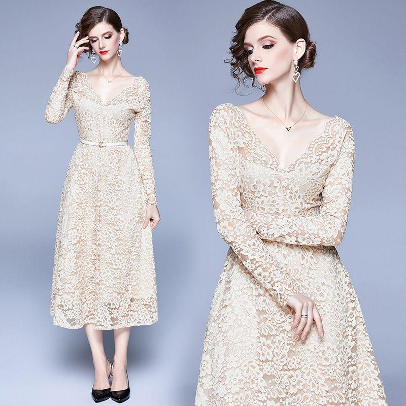Long Sleeve V-neck Midi Lace Dress Runway Dresses 2020 Women High Quality Autumn Sukienki Na Wesele Damskie