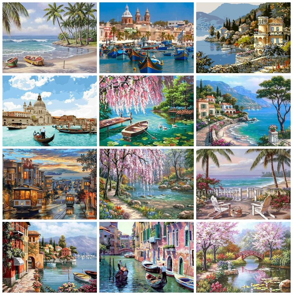 Azqsd Painting by Numbes Seaside Coloring By Numbers Paesaggio Pittura ad olio arcylico Unframed Wall Art Art Art Mano Kit di vernice Canvas