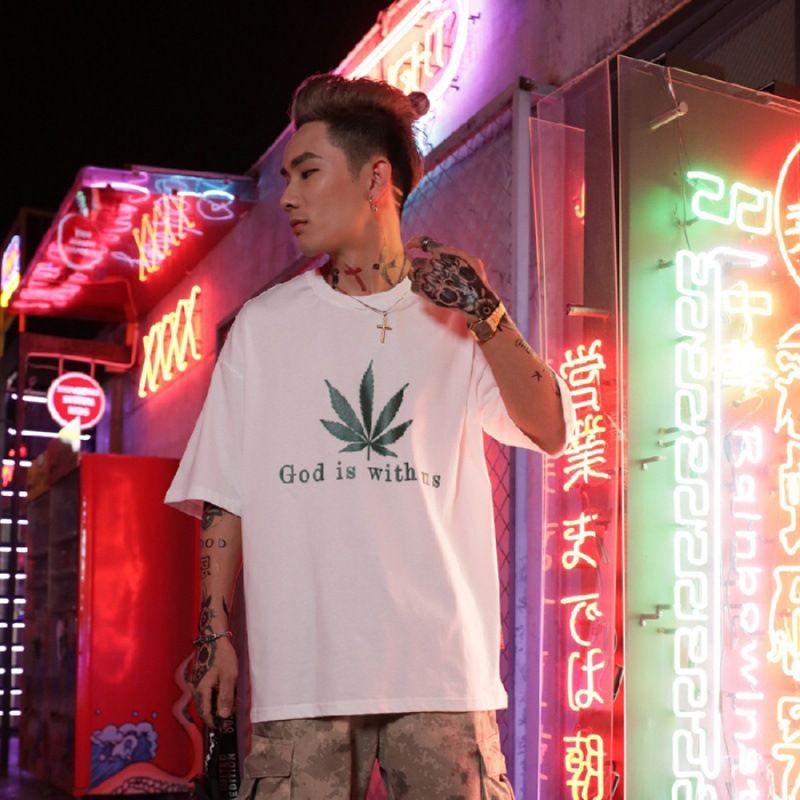 Мужская одежда популярный бренд свободная футболка с коротким рукавом