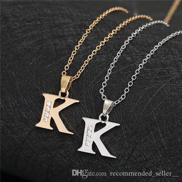 Adı Mektupları Minik İlk Harf kolye kolye takı Kelime Zinciri Necklace'ları Sign İngilizce Alfabe -K altın gümüş Aile dostu