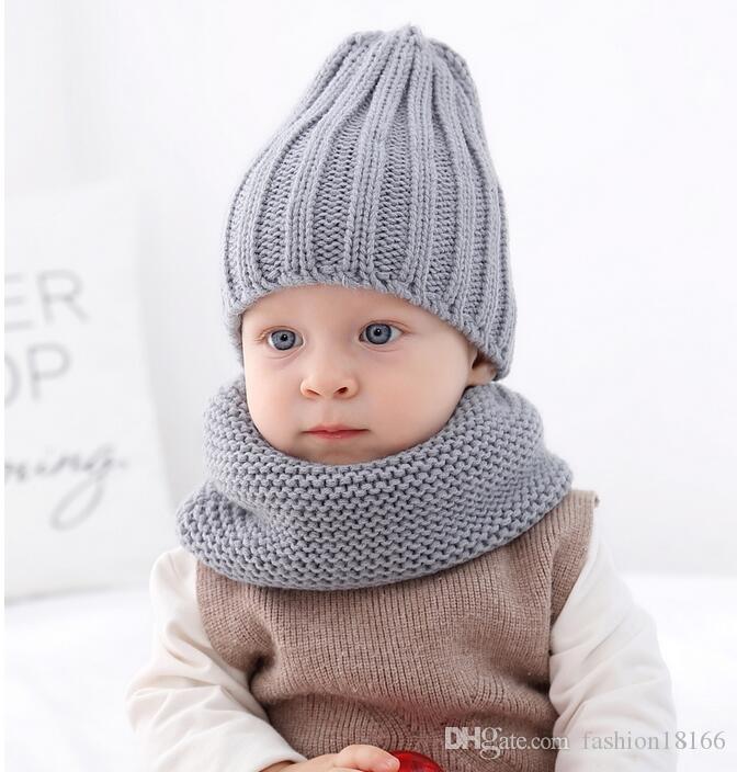 Neuer warmen Zieh Hut der Kinder und bib Baby warm Hut Herbst und Winter Kinder Strickmütze