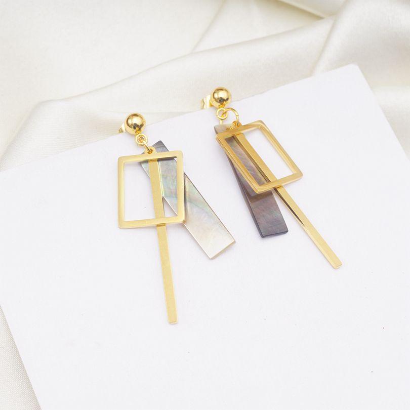 Women Modern Style Acrylic Water Drop Hollow Round Geometric Dangle Earrings