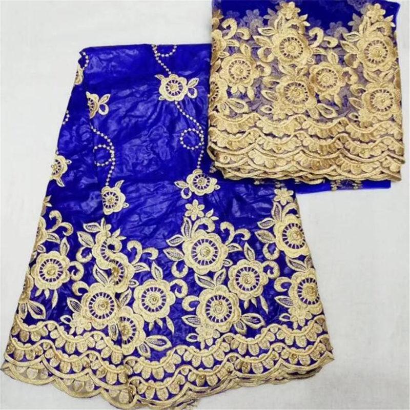 2018 последняя Синяя Африканская кружевная ткань вышитая Bazin Riche Getzner для мужской / женской одежды 5 ярдов+2 ярда кружева-BTE30