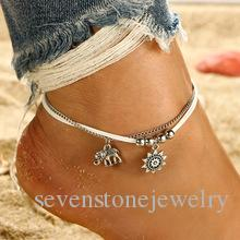 Bohemian alloy animal foot ornament elephant sun multi-layer leather rope square beads chain anklet female beach Hawaiian anklet