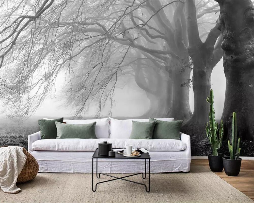 wellyu personnalisé papier peint nostalgique minimaliste moderne brumeuse mur de fond TV murale forêt arbre gris fond d'écran 3D