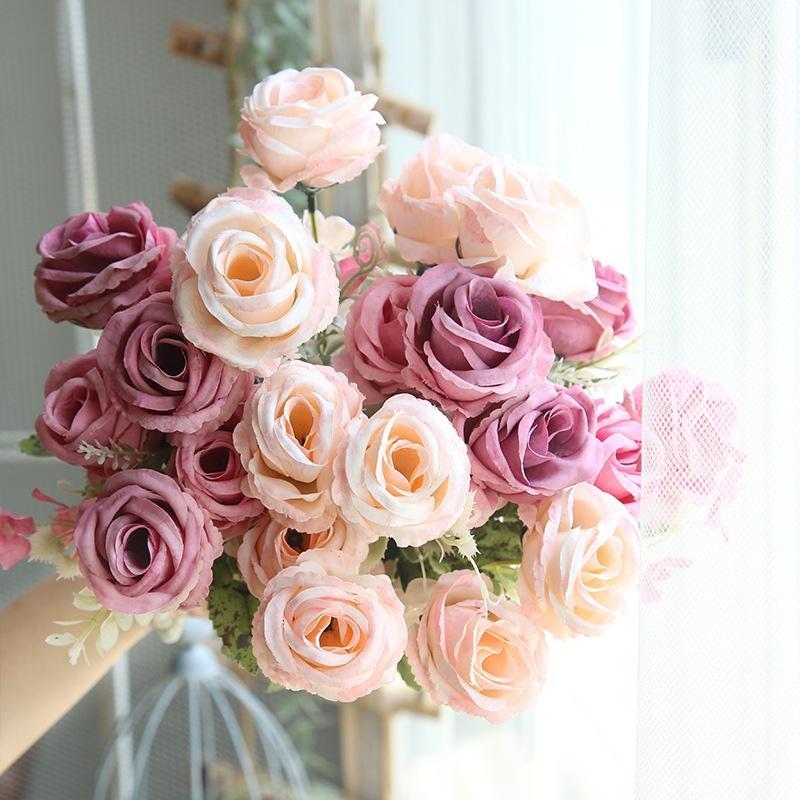 6 cabeças / Bouquet Flores artificiais Fake Plastic Rose flor para o casamento de DIY Decoração Party Partido Home Decor Bouquets