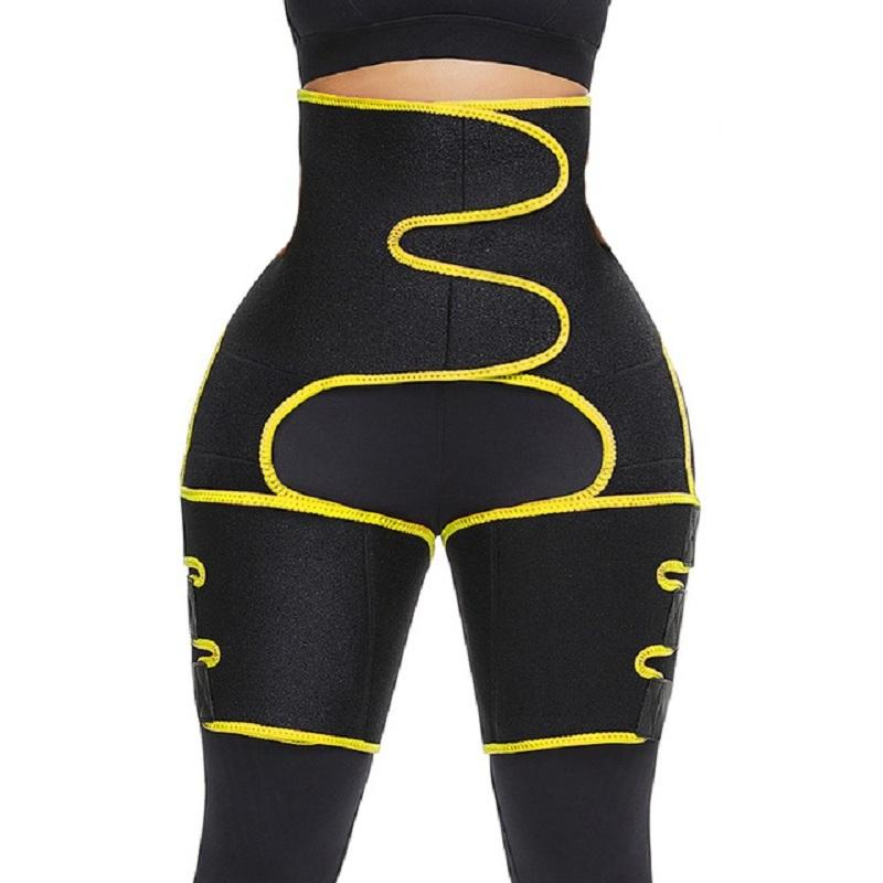 2020 Горячие продажи Shapewear Пояс Новый дизайн 3 в 1 спортивный фитнес для похудения корсет сладком Пот талии Trainer Leg Shaper Shape ремень Y200706
