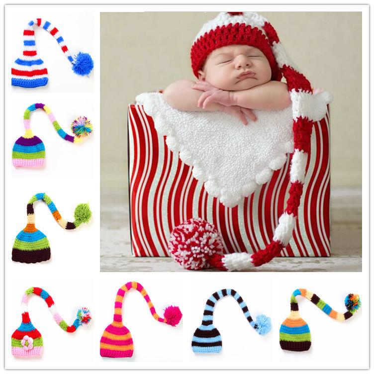 Handmade Knit Santa Hat Crochet Baby Xmas caps Baby Boy Girl Christmas Pompom Hat Infant Long Tail Stripe Beanies party prop hats JXW481
