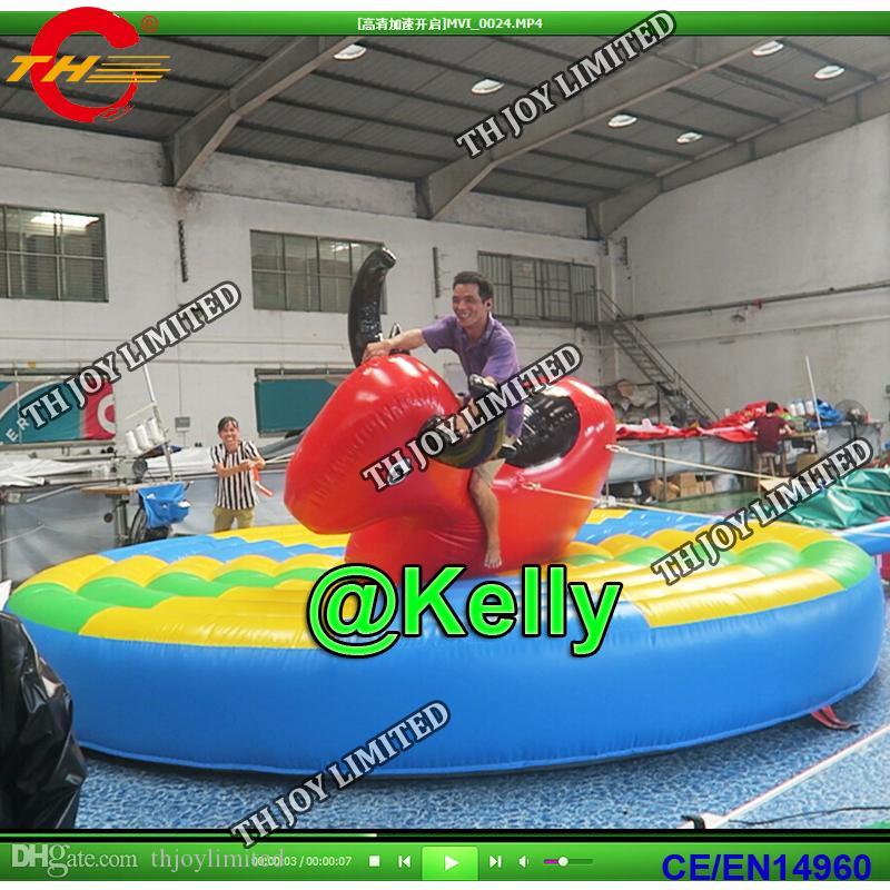 Бесплатная доставка по воздуху 5м диаметр надувной батут игра верхом на быке для продажи, коммерческий надувной ручной бой быков едет карнавал спортивные игры