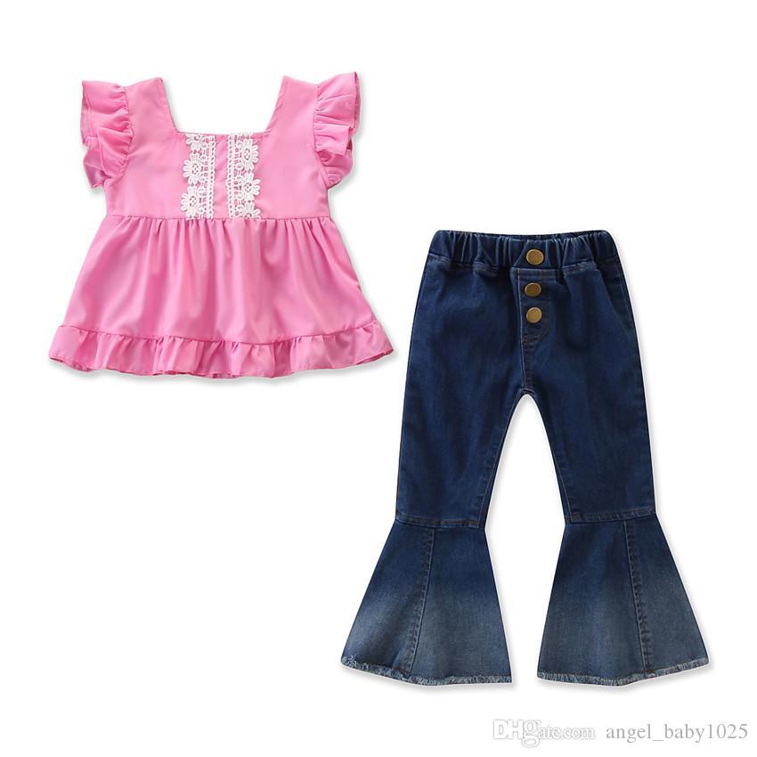 2019 Été Nouveaux Vêtements pour enfants Filles Convient à la chemise à manches roses roses étrangères + pantalon de flare denim décontracté vent double
