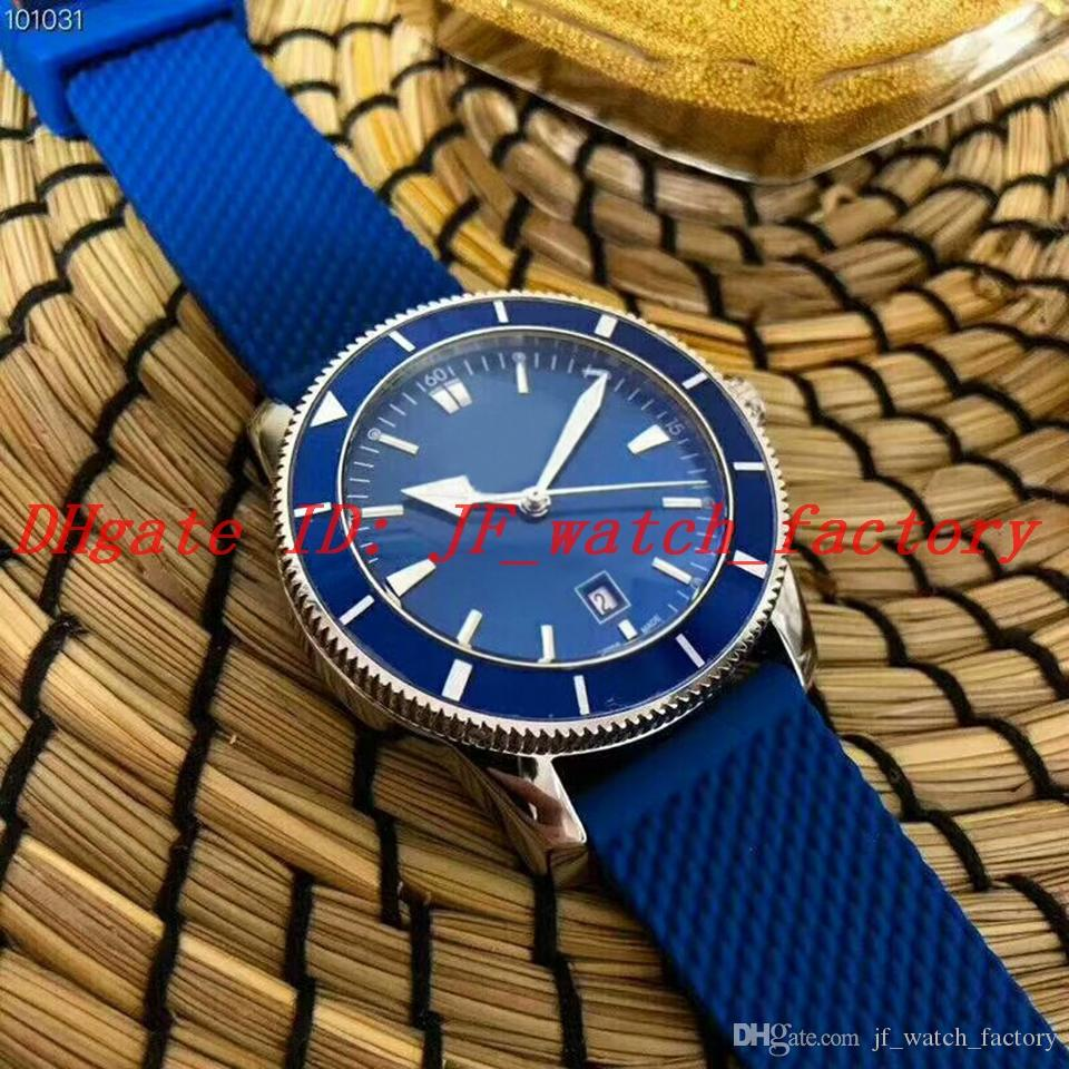 NEW Men's watch 1884 Automatic movement High quality steel case Blue dial Rotatable bezel Rubber strap Gents WristWatch AB2020161C1S1