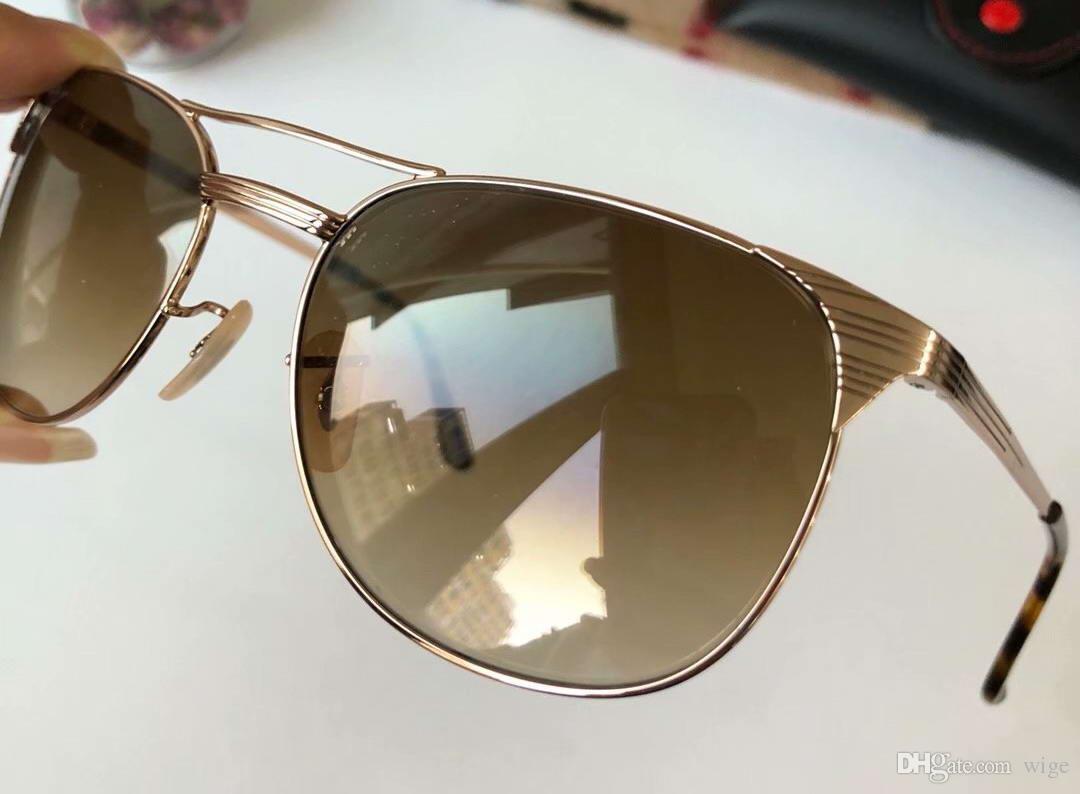 3429 gradient homens piloto ouro óculos de sol lente marrom quadrado com copos caixa dsksm