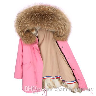 Ladies Long Down parkas hooded with Natural brown Raccoon Fur collar Grass rabbit furs Updated version Liner
