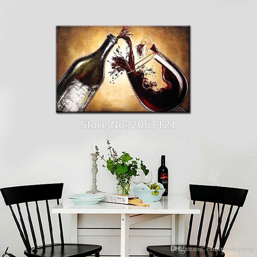 Compre Pintado A Mano Pintura Al Óleo Abstracta Vino Lienzo Pared Cuadros  Para Cocina Comedor Café Sala De Estar Decoración A $23.96 Del ...