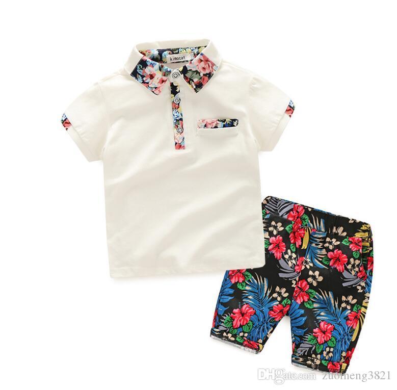 Boy Summer Clothing Set 2019 Boy Clothes Bambini Maniche corte Camicia stampata + Pantaloncini fiore 2 pezzi Abbigliamento bambini