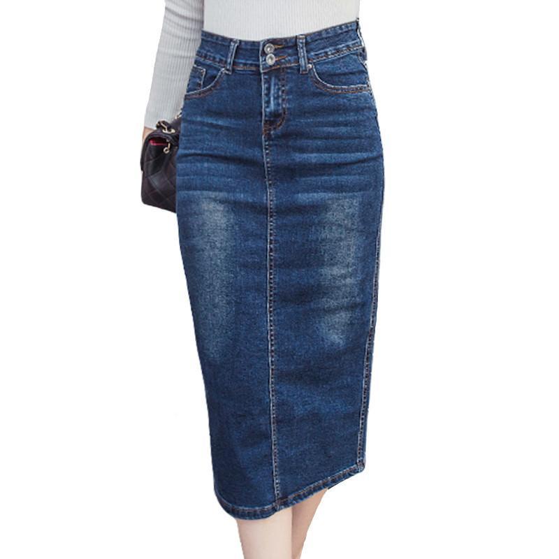 2018 Gonna lunga in denim vintage bottone a vita alta matita nera blu donne sottili gonne plus size ufficio delle donne sexy jeans Faldas Y190428