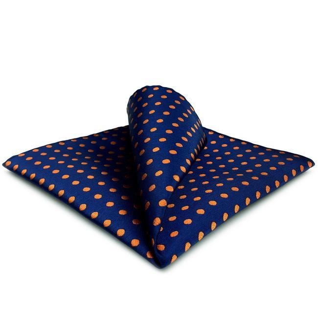 UH5 해군 오렌지 도트 남성 포켓 스퀘어 패션 클래식 포켓 스퀘어 실크 드레스 손수건 손수건