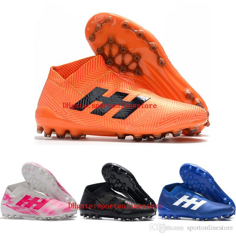 2019 أحذية كرة القدم للرجال Nemeziz 18+ AG أحذية عالية لكرة القدم الكاحل Nemeziz messi 18 أحذية كرة القدم في الهواء الطلق scarpe da calcio الأخضر