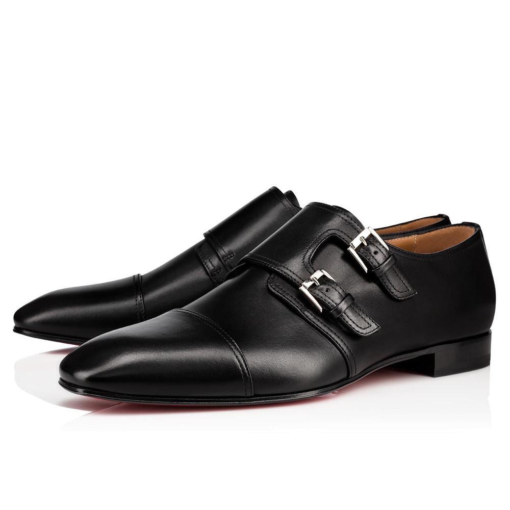 Роскошные бренды джентльменская мужская обувь красные нижние мокасины роскоши Oxford пряжки натуральной кожи подошвы свадебное платье