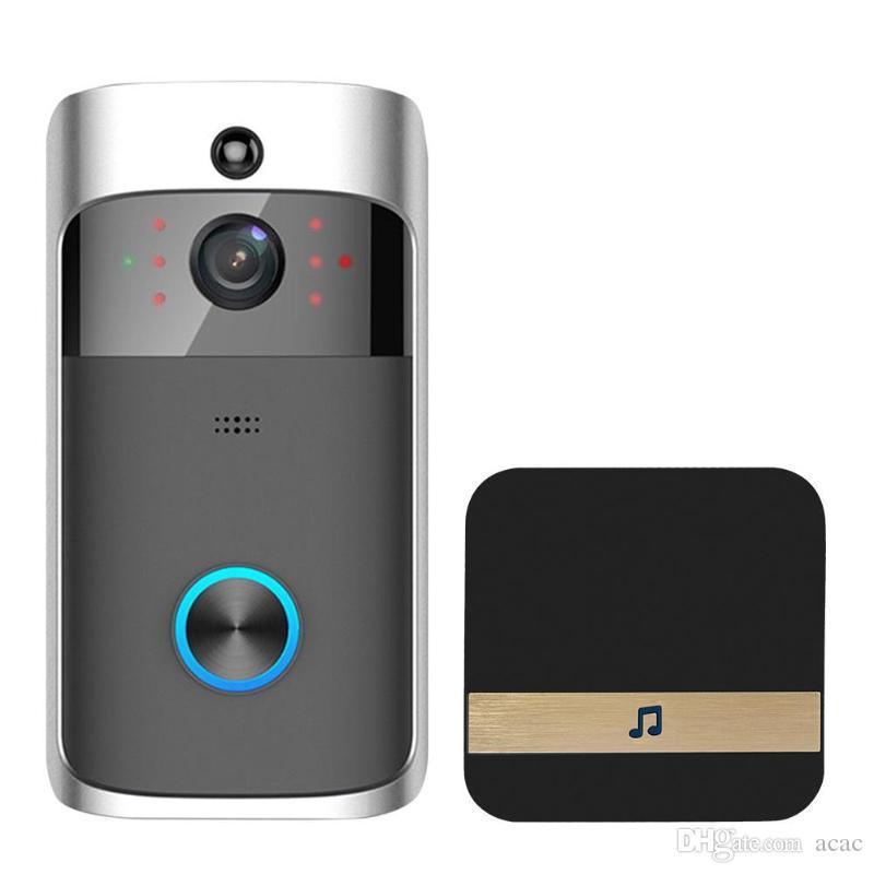 فيديو جرس الباب wifi hd للماء 720 وعاء الكاميرا البصرية + 1 قطع dingdong ل ios للرؤية الليلية ir إنترفون حلقة الهاتف الأمن