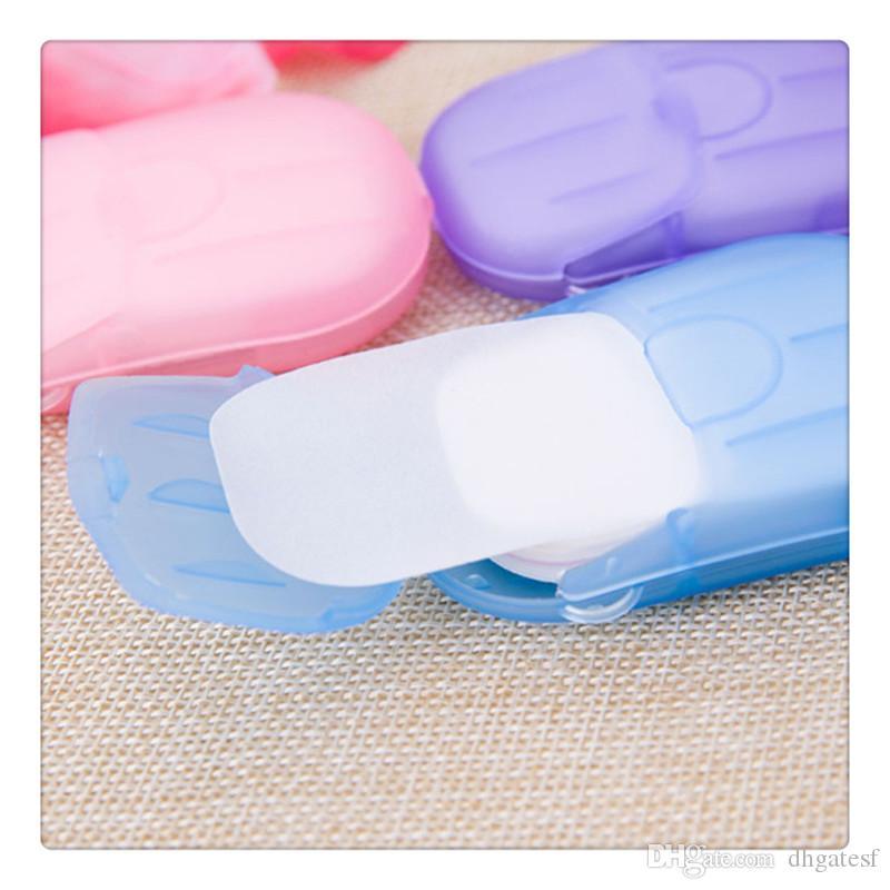 20pcs portátil de papel desechables Jabón Jabón Mini jabón perfumado de papel al aire libre Herramientas Hojas de diapositivas que hace espuma para acampar