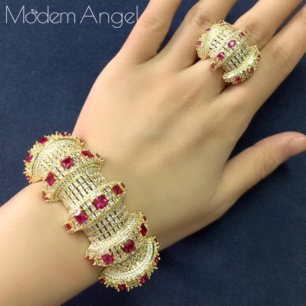 ModemAngel 2PCS браслеты / кольца Цирконом Открыть браслет Resizable кольца Модные девушки Женщины PATRY свадебные комплекты ювелирных изделий