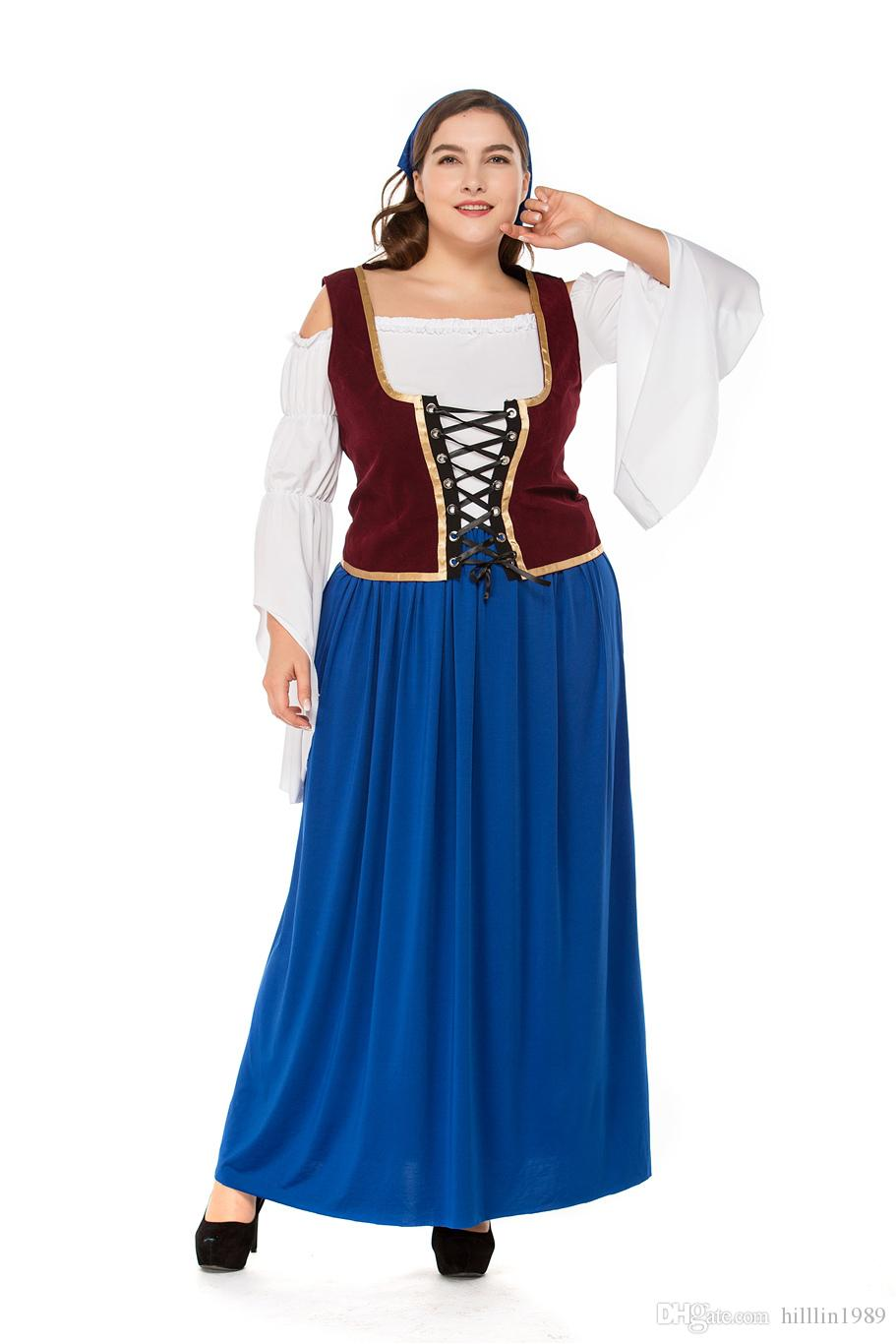 Plus Size German Women Oktoberfest Dress Mardi Gras Blue Cosplay Bavarian  Waitress Costume Carnival Large Size Beer Girl Fancy Dress Kids Costume ...