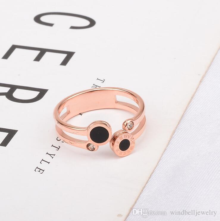 316L Surgica Stainless Steel Roman Numerals Ring Fashion Black MOP Band Ring For Ladies Rose Gold Women's Ring Jewelry I