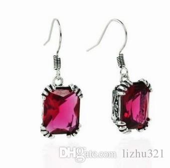 2 pares / lotes borlas preço baixo de alta qualidade jóias de cristal pedra 925 brincos da senhora de prata 4.7y