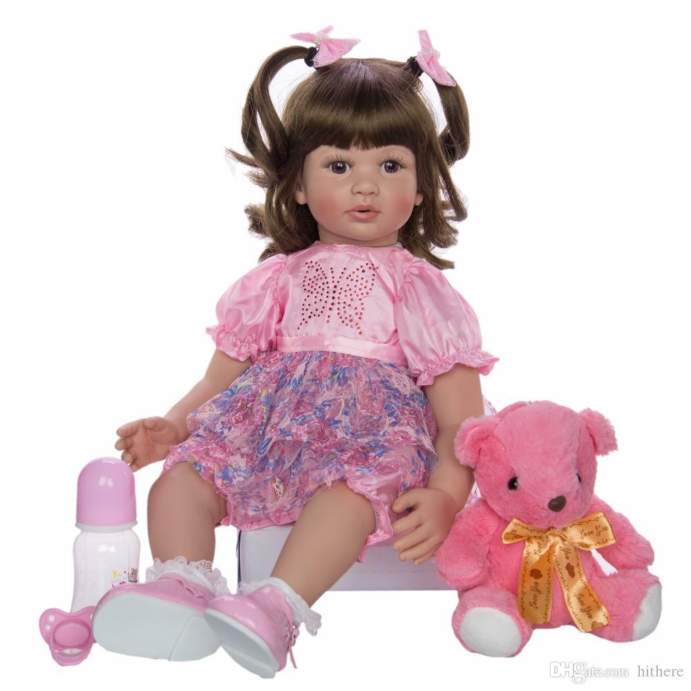 "24/"" Reborn Toddler Baby Dolls Handmade Vinyl Princess Girl Newborn Cloth Body"