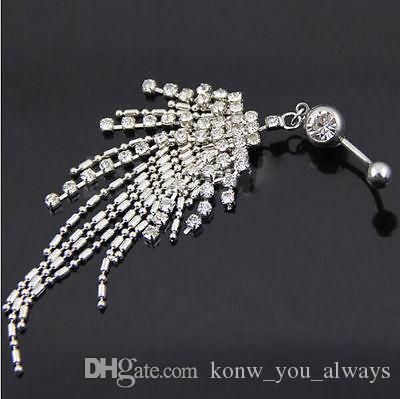 Rhinestone Tassel Navel Dangle Button Belly Ring Bar Body Piercing Jewelry