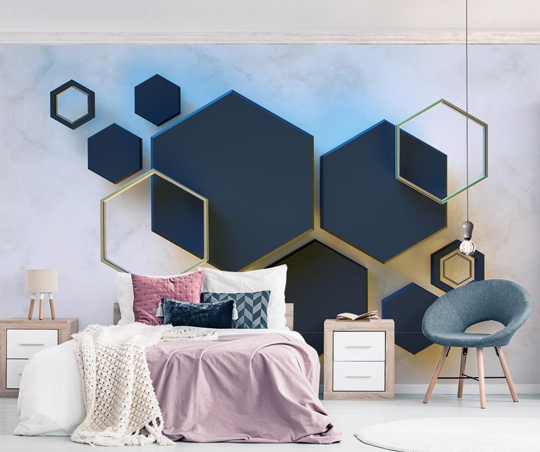 Acquista Foto Wallpaper 3d Geometric Hexagonal Mosaic Stitching Living Room  Camera Da Letto Sfondo Decorazione Parete Wallpaper A $28.15 Dal Yunlin888  ...