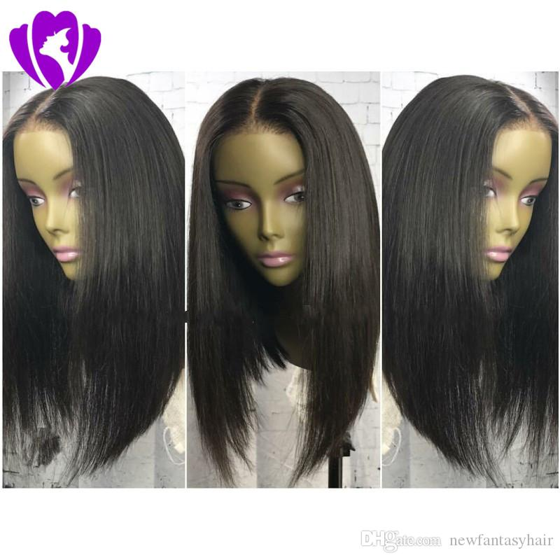 13*4 Lace Front Synthetic Wigs For Women Black Brazilian Hair Short Straight Bob Wig For black women Bleached Knots