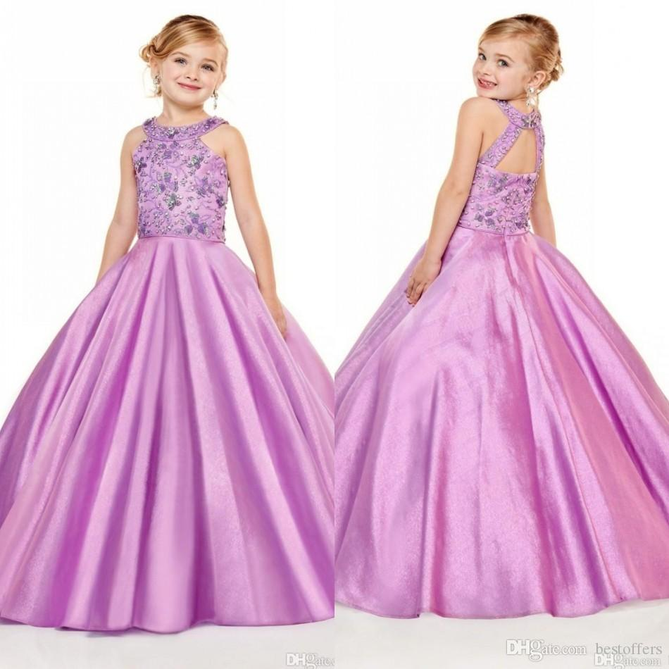2020 Hot Pink Girls Pageant Dresses Halter Neck A Line Beads Crystals Top Long Toddler Kids Formal Party Prom Gowns Flower Girl Wear BC3012