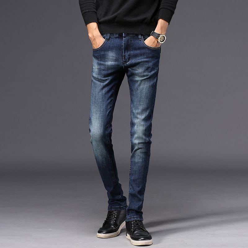 Jeans Men Classic slim fit jeans uomo pantaloni diritti pantaloni in denim stretch Streetwear Fashions Distressed