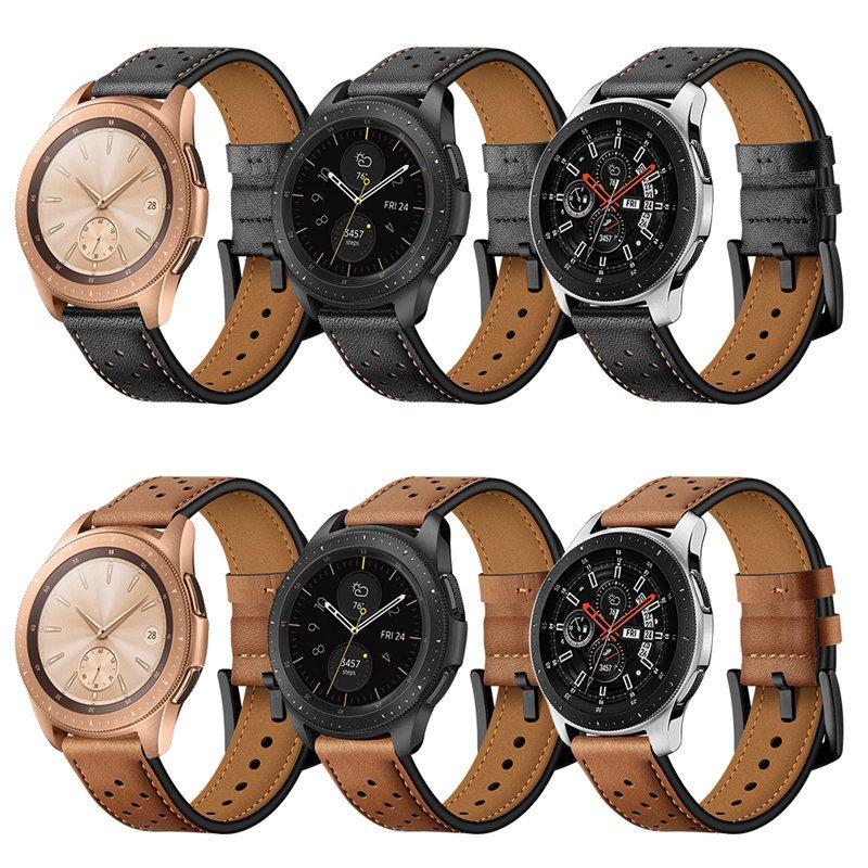 20mm 22mm Correa de reloj de cuero genuino para Samsung Galaxy Watch 42mm 46mm versión Negro Marrón Agujeros Reemplazo Pulsera Correa Banda para Gear S3