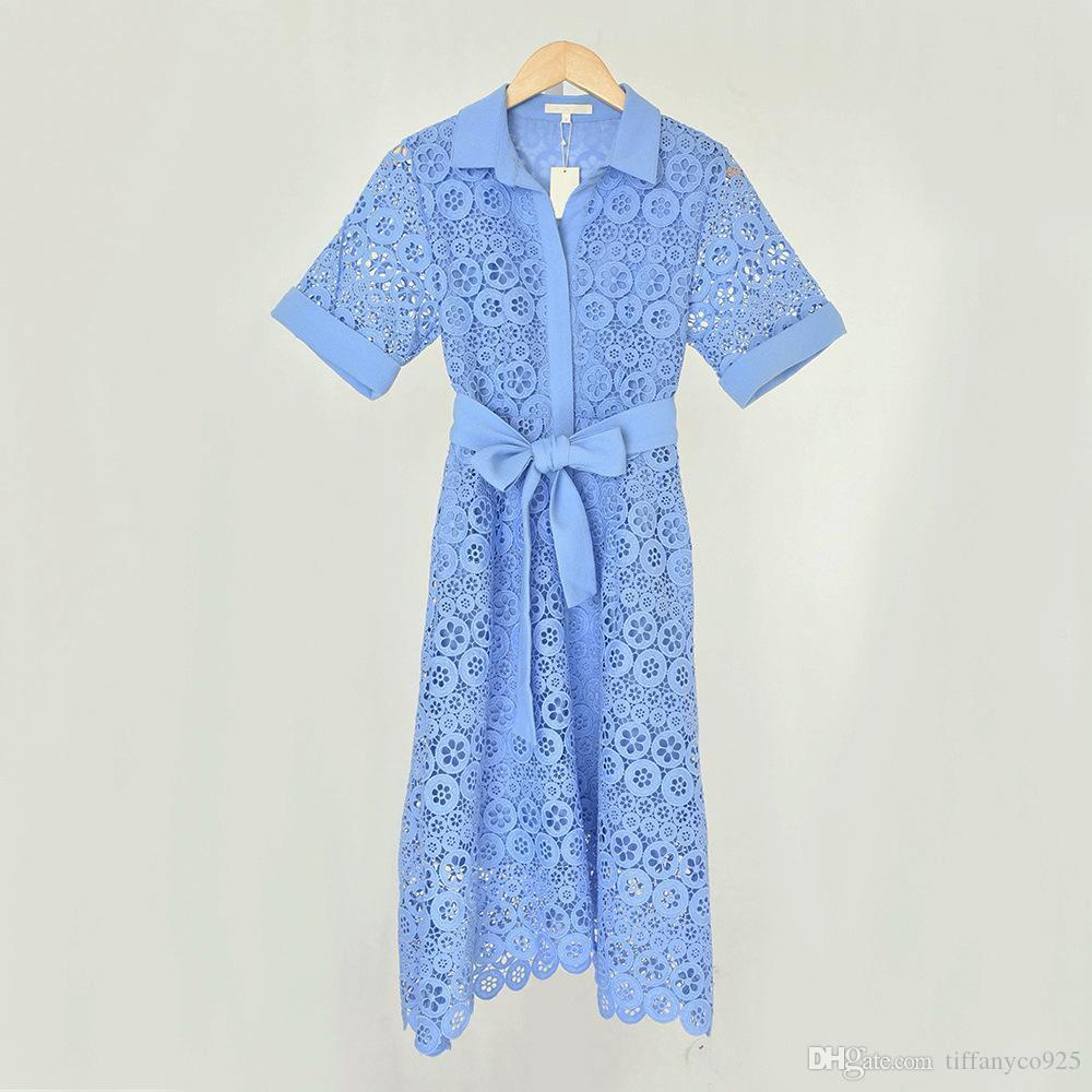 2020 осень зима белый с коротким рукавом нагрудные Neck Цветочные печати Кружева Вышивка Belted Mid-теленок платье вскользь платья MD093068