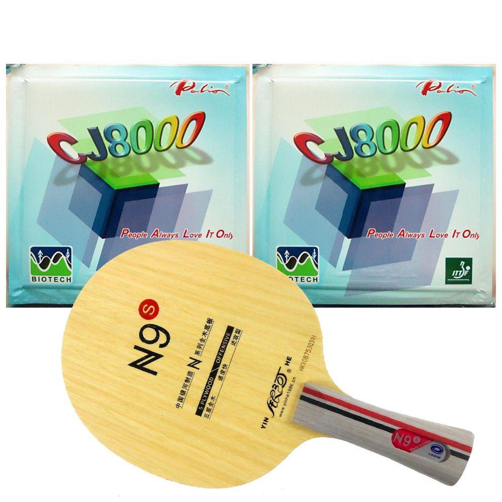 Pro Table Tennis PingPong Combo Racket Yinhe N9s with2 Pcs Palio CJ8000 BIOTECH H42-44 Rubber Long Shakehand FL T191026