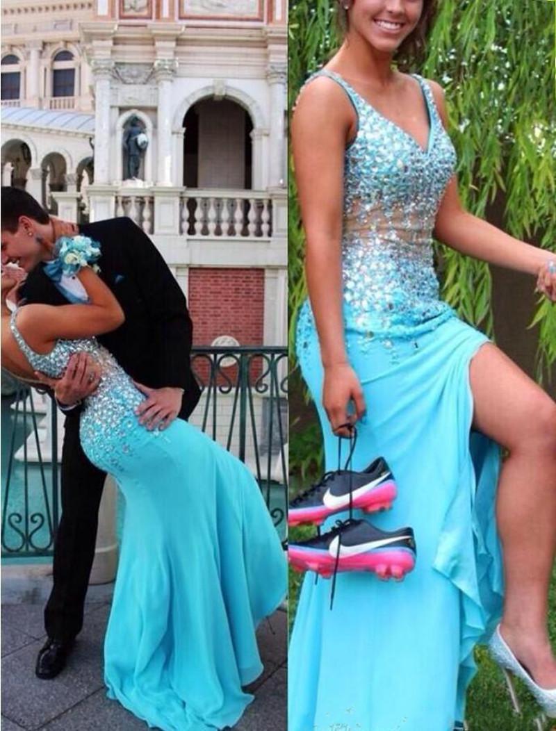 Vestidos de fiesta divididos 2019 Nuevo azul cielo sirena con cuello en V Blusa escarpada con cuentas Blingbling tren de barrido Vestidos de desfile Moda para parejas