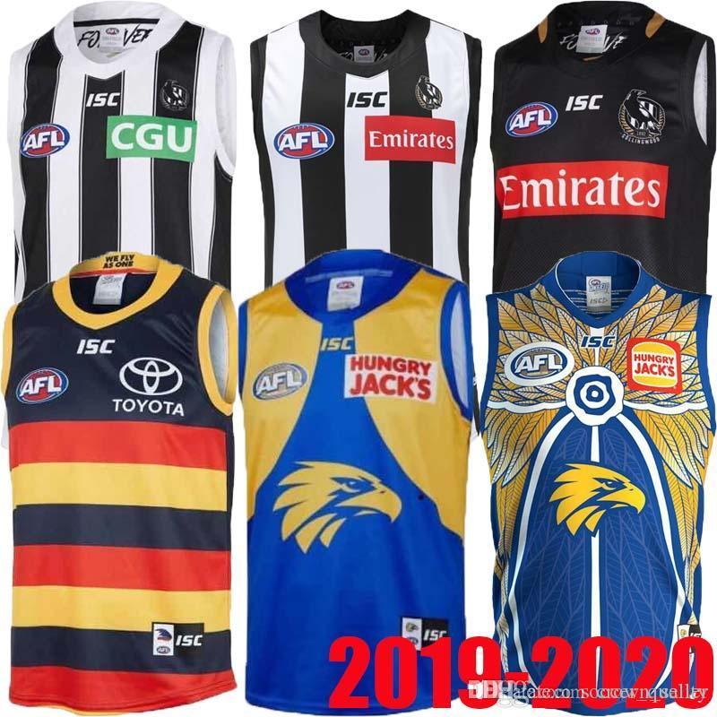 2019 2020 West Coast Eagles Guernsey Adelaide Crows Collingwood Magpies Haus Eddie Betts 300th Ärmel beste Qualität AFL Trikot