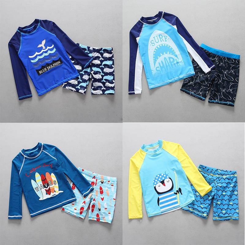 Kid Boy Cartoon Swimsuit One Piece Surfing Suit Beach Swimwear Rash Guard UPF50+