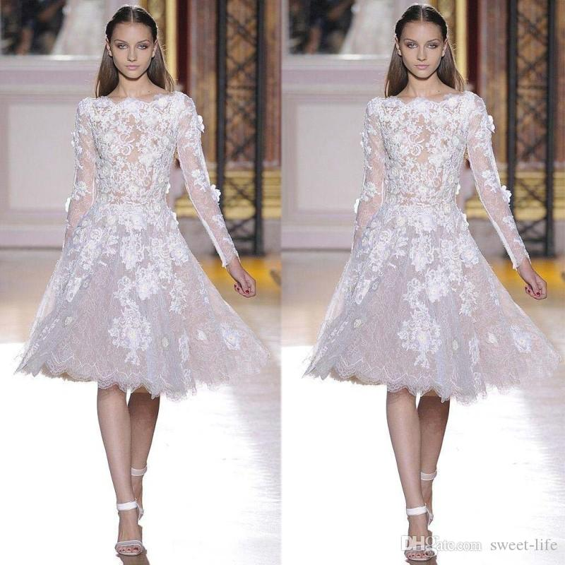 2019 Lace Appliques Long Sleeves White A Line Knee Length Bateau Elie Saab Prom Graduation Sexy Cocktail Dresses Party Homecoming Gowns