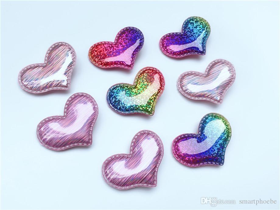 Boutique'nin 20pcs Moda Sevimli Glitter Aşk Kalp Tokalar Katı Parlak Gradyan Gökkuşağı Rengi Kalp Saç Klipler Prenses Şapkalar