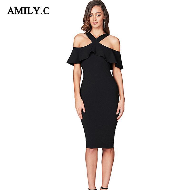 Amily.c 2020 Nova Primavera Mulheres vestido bandagem Corte Neck Sexy Bodycon Ruffle Vestido Chic celebridade Partido Red Preto Vestidos Vestidos