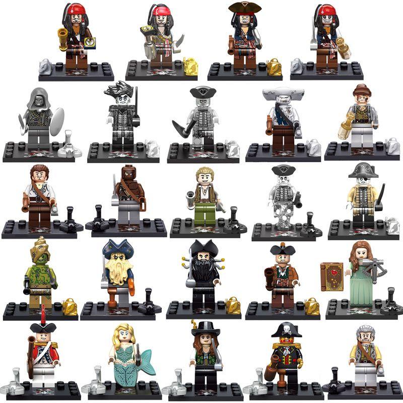 8pcs Caribbean Pirate Black Pearl Mini Toy Figure Captain Jack Sparrow William Davy Jones Elizabeth Barbossa Salazar Building Block