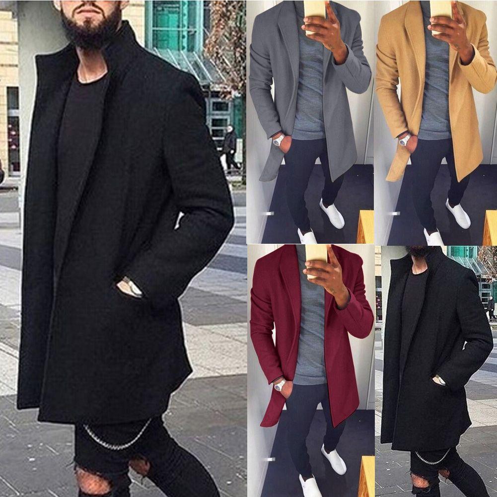 Autunno Inverno Uomo Casual Coat addensare Trench maschio di affari solido classico soprabito Lunghi Giacche Tops
