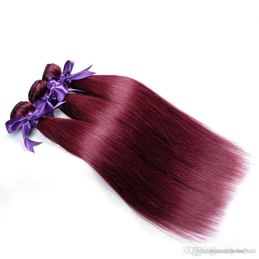 Elibess-необработанный класс 8А бразильский девственный волосы 99J цвет шелк прямой волна человеческие волосы ткут 4шт в серии