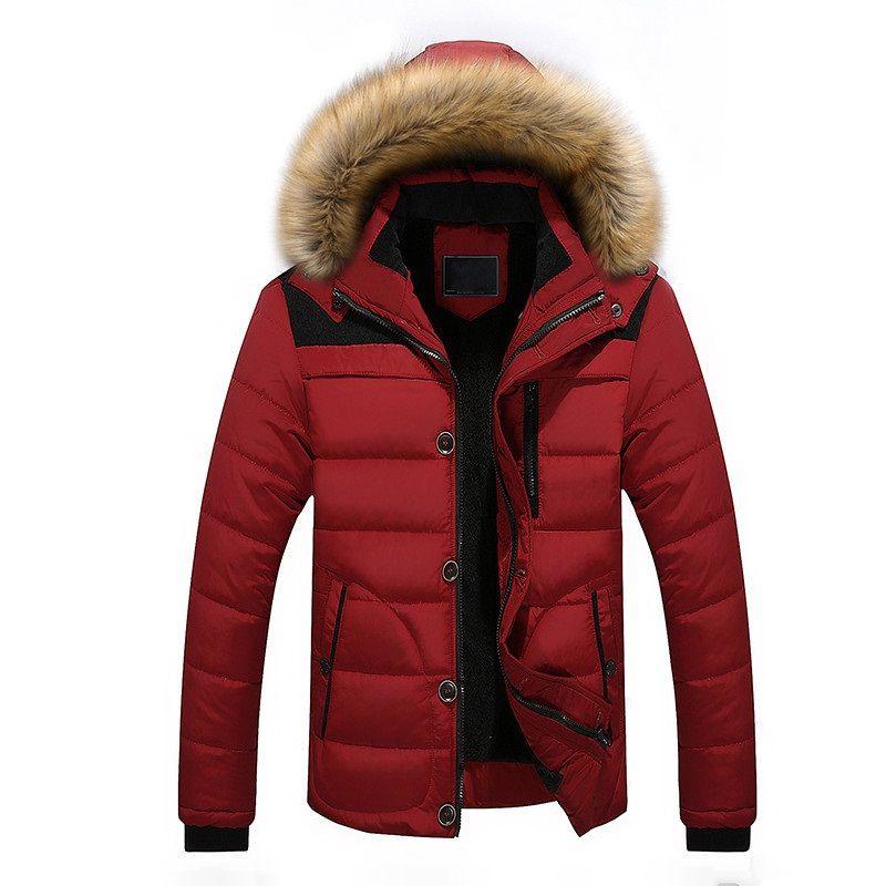Herren Parkas Winter verdicken warmer mit Kapuze Daunenjacke mit Pelzkragen feste dünne Reißverschluss Mantel männlichen Hoodies Mantel lang