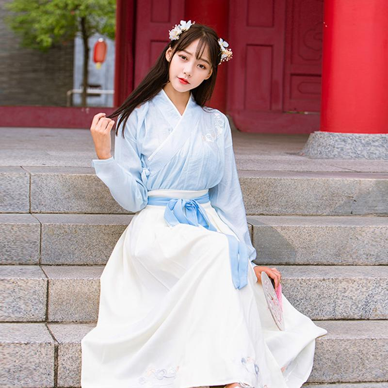 Femmes Hanfu Ensembles Robe traditionnelle Robe chinoise Sakura Broderie danse folklorique Fée Princesse Cosplay Stage Porter Costume antique